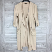 Tahari White Wood Long Open Front Cardigan Sweater