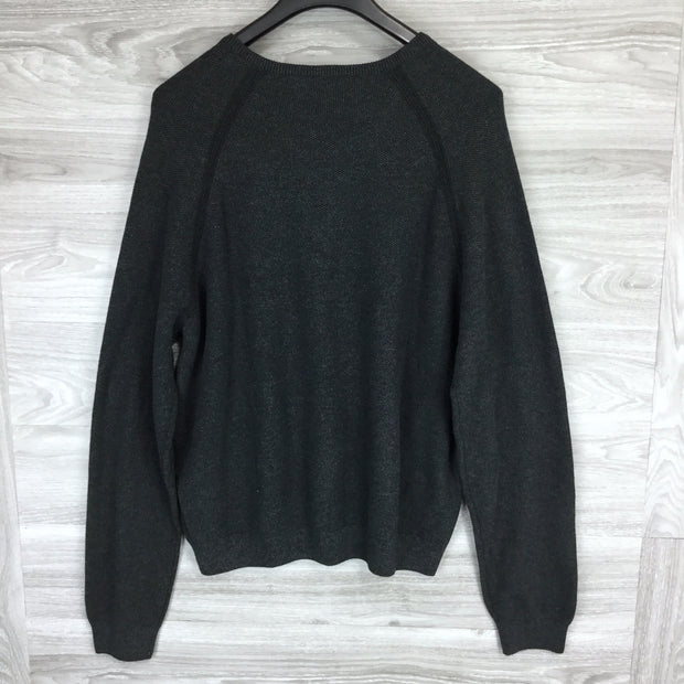 Tailor Vintage Reversible Charcoal Grey Cotton V-Neck Sweater