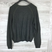 Tailor Vintage Reversible Army Charcoal Cotton V-Neck Sweater