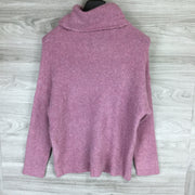 Catherine Malandrino Lavender Cozy Eyelash Knit Turtleneck Sweater