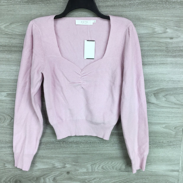 ASTR Long Sleeve Sweetheart Neck Cropped Sweater