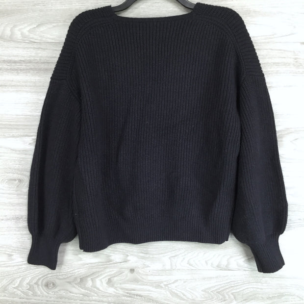 Madewell V Neck Heavy Knit Dolman Sleeve Sweater