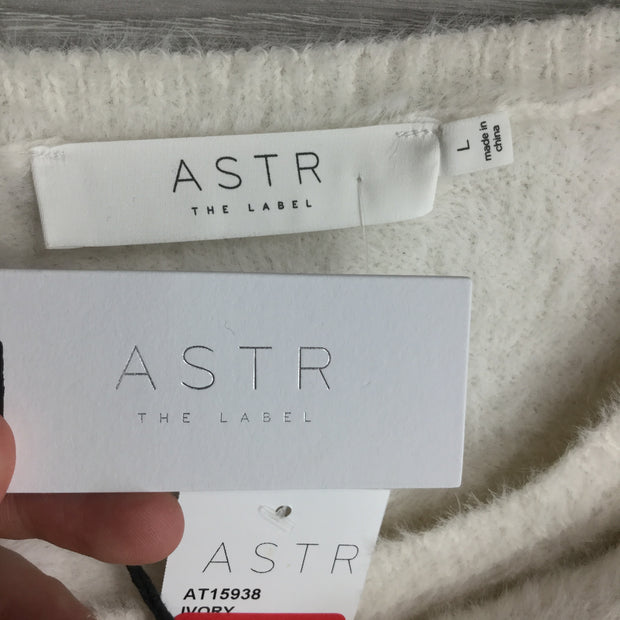 Astr White Fuzzy Crop Sweater