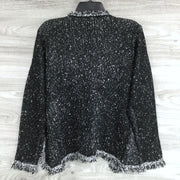 Max Studio Fringe Knit Open Front Cardigan