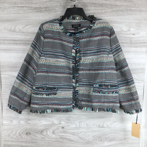 Halogen Fringe Striped Snap Front Sweater