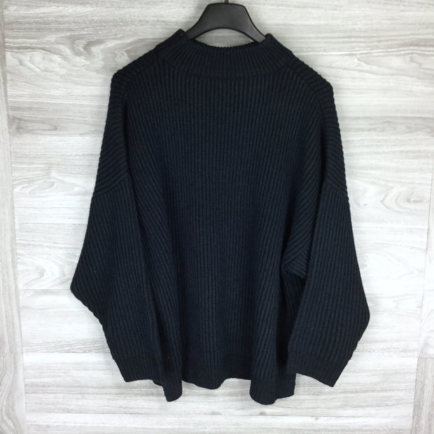 Topshop Navy Knitted Funnel Neck Sweater