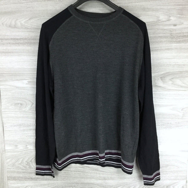 Good Man Brand Charcoal Heather Bottom Stripe Sweater