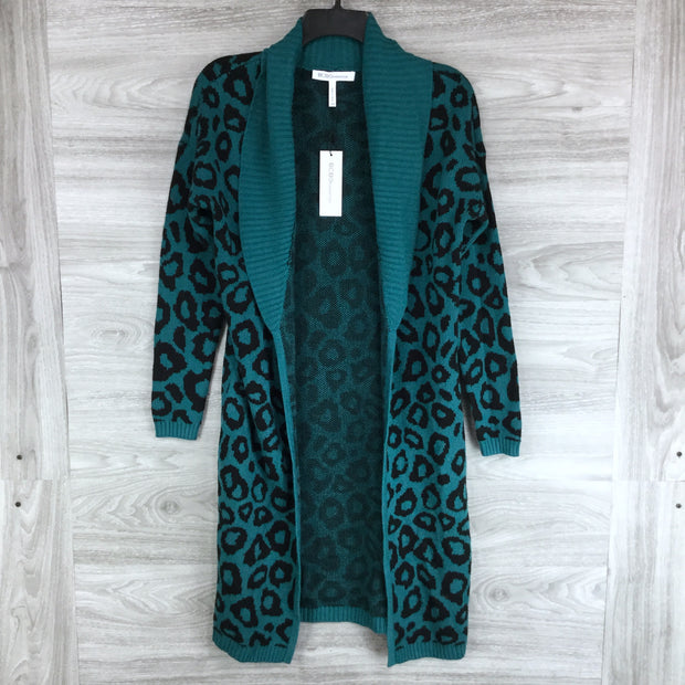 BCBGeneration Leopard Shawl Collar Long Open Cardigan