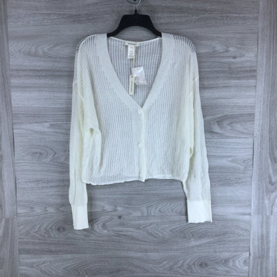 Max Studio Sheer Button Front Cardigan Ivory