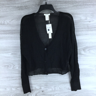 Max Studio Sheer Button Front Cardigan Black