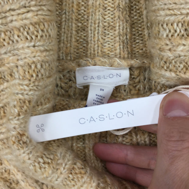 Caslon Chunky Cable KniT Sweater (Plus Size)