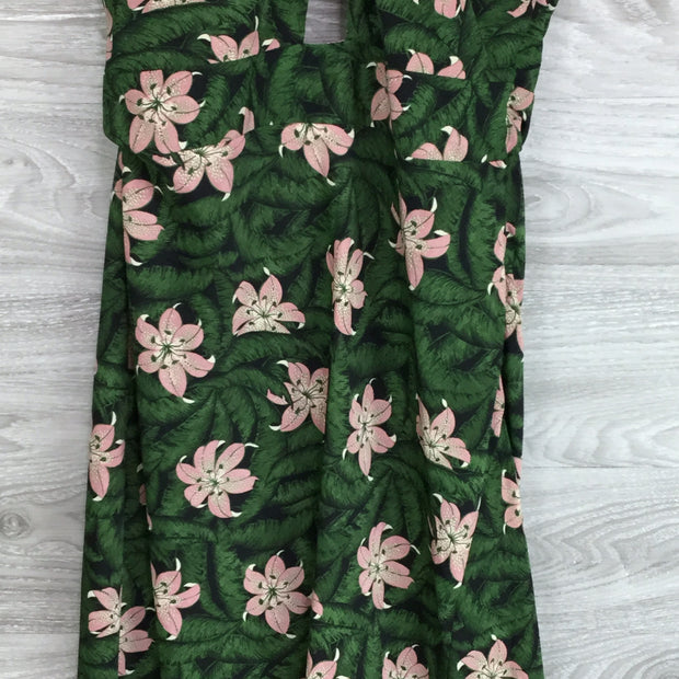 Topshop Hibiscus Floral Halter Neck Midi Dress