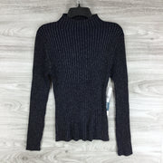 COURT AND ROWE Metallic Mock Neck Ribbed Sweater