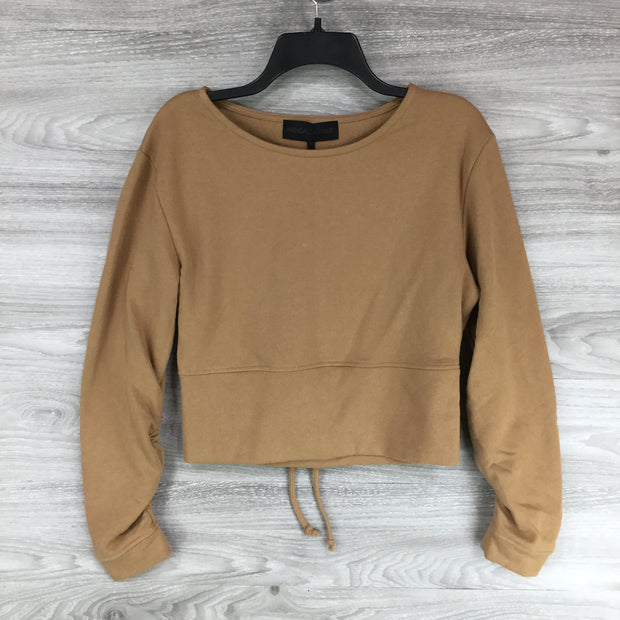 Kendall + Kylie Ruched Sleeve Keyhole Crop Pullover