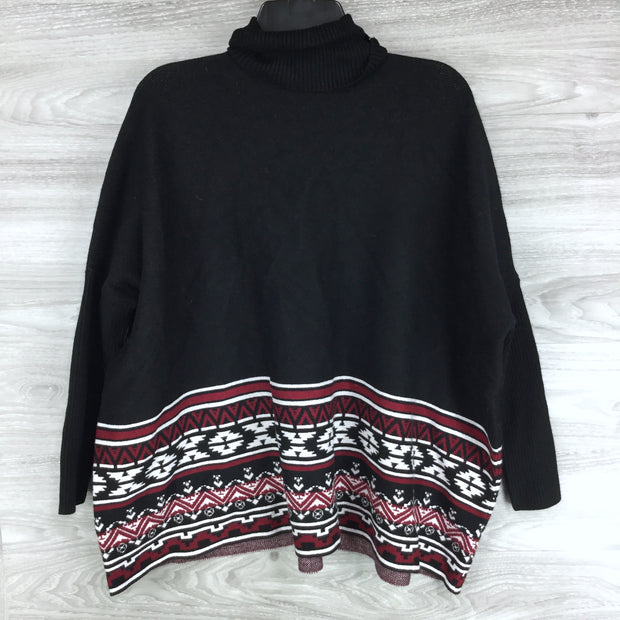 Joseph A. Patterned Turtleneck Poncho Sweater