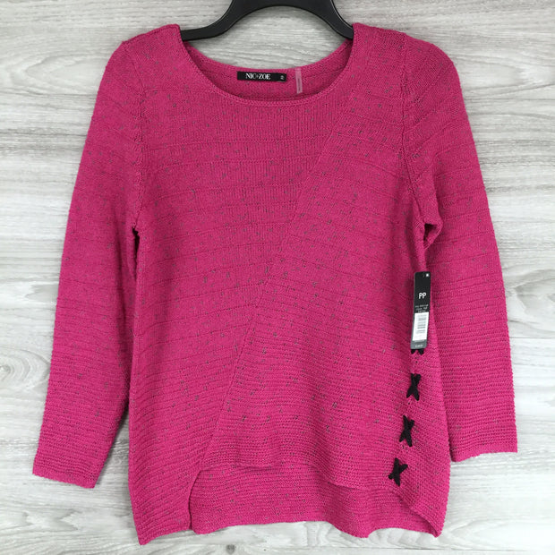 Nic + Zoe Scoop Neck Cross Knit Sweater