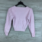 ASTR Long Sleeve Sweetheart Neck Cropped Sweater Pale Pink