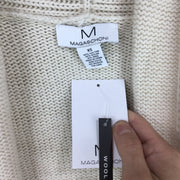 Magaschoni Striped Shawl Collar Open Front Cardigan