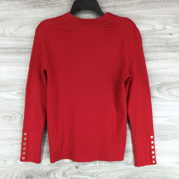 Tommy Hilfiger Red Ribbed Knit V-Neck Sweater