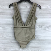 Ted Baker Starza Pointelle Deep V Swimsuit Khaki