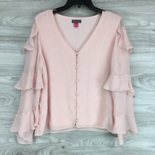 Vince Camuto Ruffle Sleeve Button Up Layered Blouse