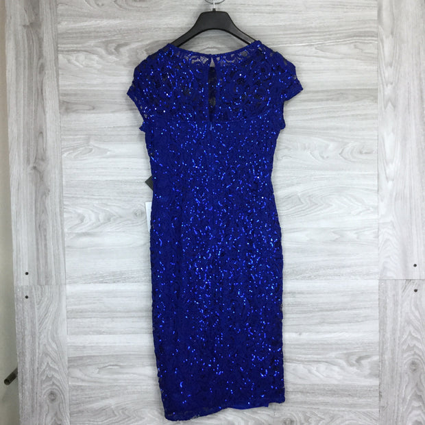 Marina Royal Sequin Lace Cap Sleeve Sheath Dress