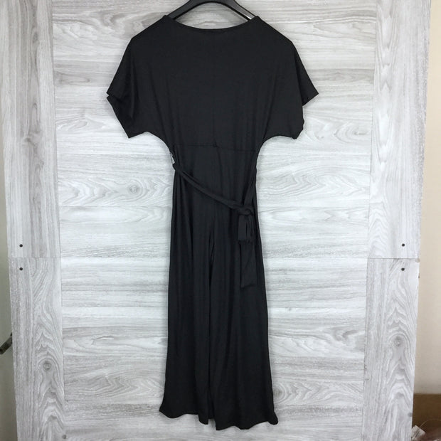 Velvet Torch Black Vneck Short Sleeve Jumpsuit