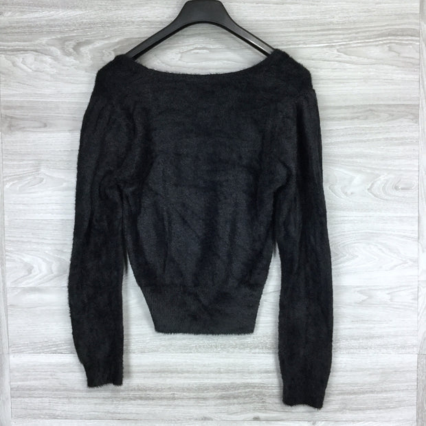 ASTR The Label Black Fuzzy Crop Top Sweater