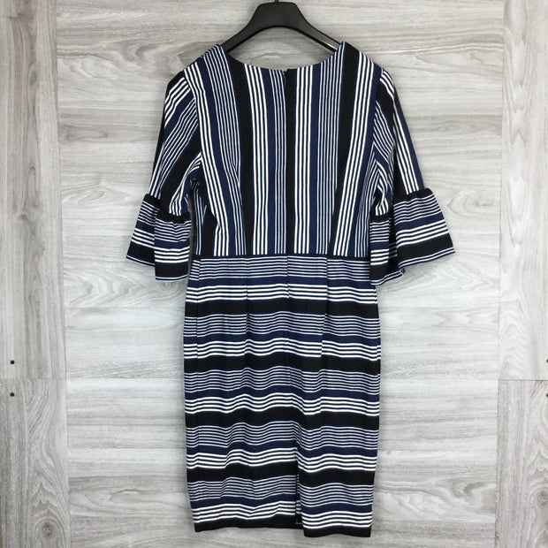 Eci Blue Stripe V-Neck Dress