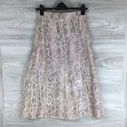 Topshop Goat Leather Foil Scale Print Button Up Maxi Skirt
