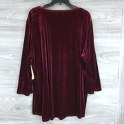 Multiples Maroon Velvet Long Sleeve Wrap Front Top