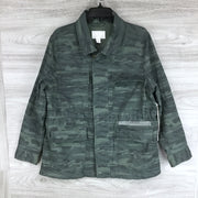 Caslon Camo Metallic Stitch Utility Jacket