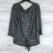 Max Studio Gray Heather Tie Hem Sweater