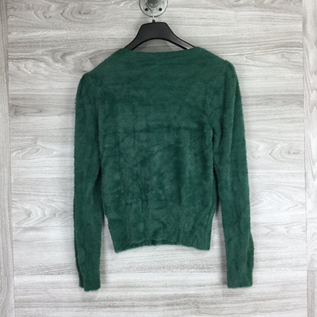 ASTR Square Neck Fuzzy Sweater Green