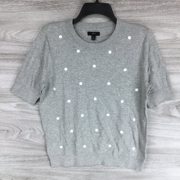 J. Crew Polka Dotted Short Sleeve Sweater