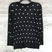 Halogen Black Polka Dot Button Up Cardigan Sweater