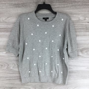 J. CREW DOTTED GREY SHORT SLEEVE SWEATER
