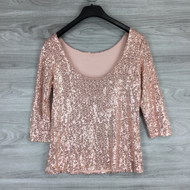 Gibson Sequin Embellished Scoop Back Top
