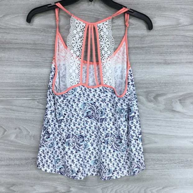 In Bloom Patterned Lace Trim Strappy Back Tank Top