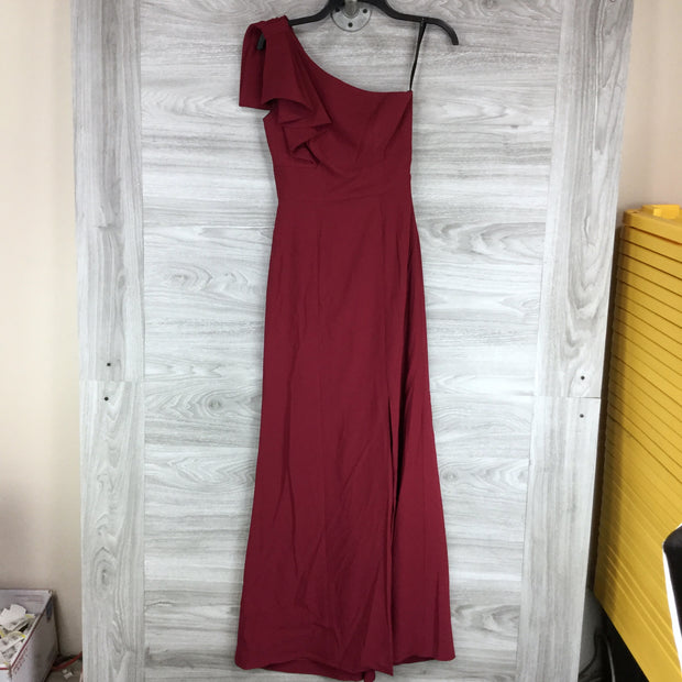 After Six Burgandy One Shoulder Dress