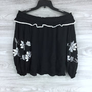 CeCe by Cynthia Steffe Ivory Floral Embroidered Off The Shoulder Long Sleeve Off Shoulder Top