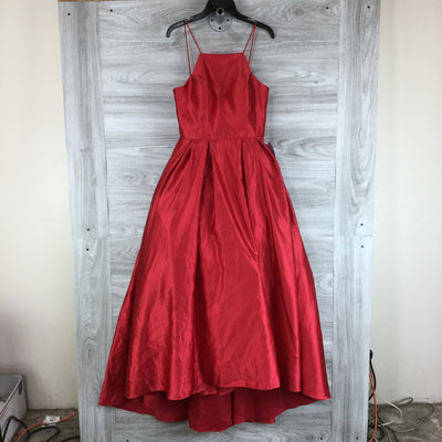 BETSY & ADAM Red Abby Square Neck Full Skirt High Low Ball-Gown