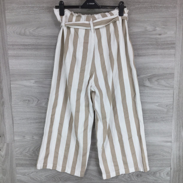 Topshop Belted Stripe Crop Wide Trousers