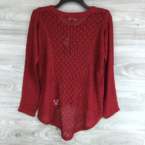 Papillon Crewneck High low Crochet Knit Sweater