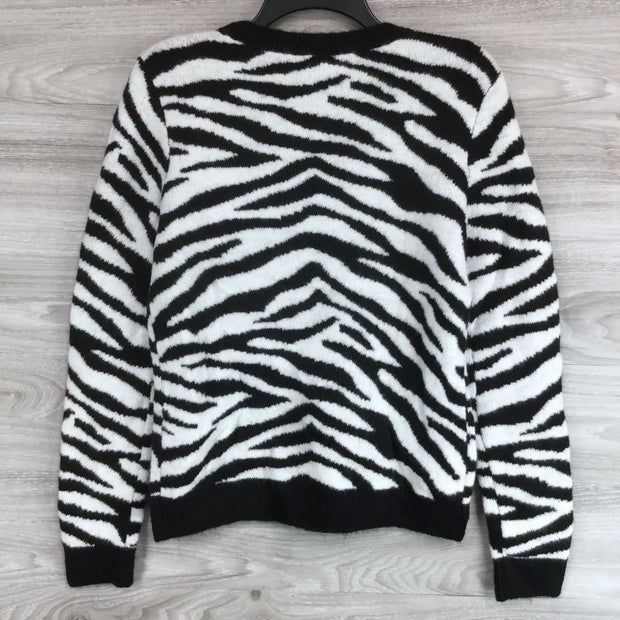 Halogen Zebra Stripe Crewneck Sweater