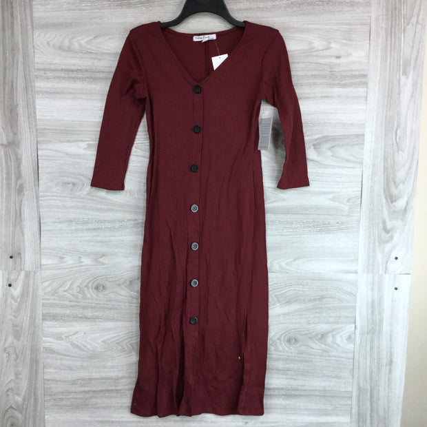 Velvet Torch Button Up Front Ribbed Dress