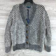Select + Trend Fuzzy Button Up Patterned Cardigan