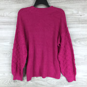 CeCe Puff Sleeve Bobble Ribbed Sweater