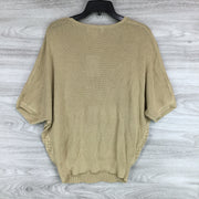 M Magaschoni Elbow Length Dolman Sleeve Pointelle Knit Sweater