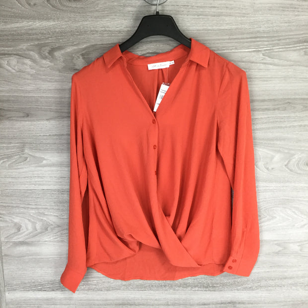 All In Favor Button Up Wrap Front Long Sleeve Blouse